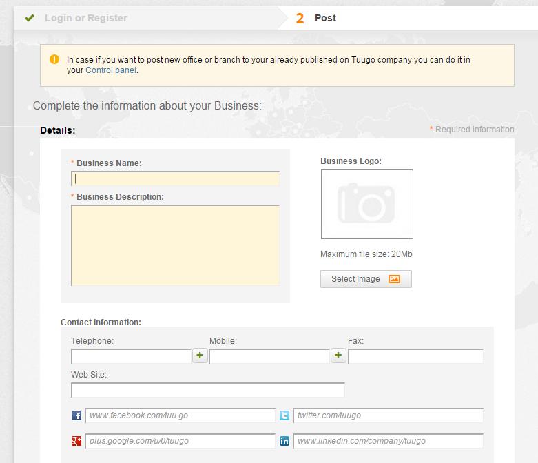 Register Business - Post details
